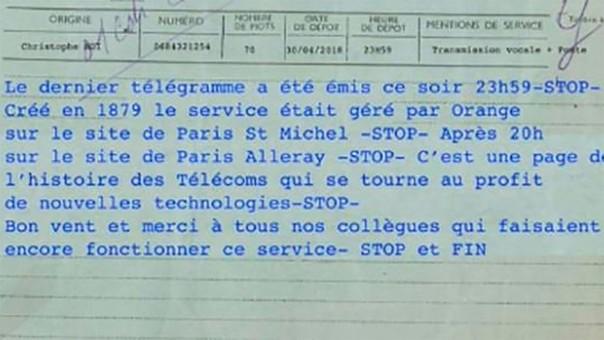 El último telegrama mandado en Francia.