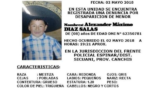 Niño de 8 años desaparecido en Cusco