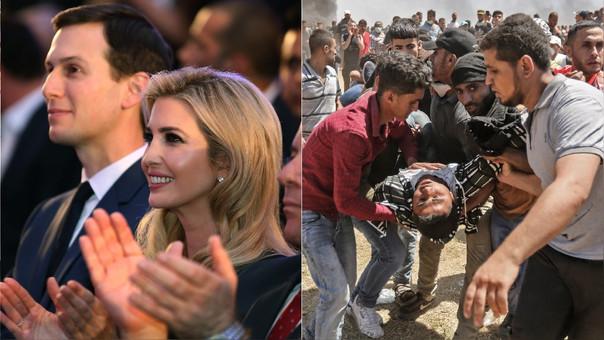Ivanka Trump, hija y asesora de Donald Trump, junto a su esposo Jared Kushner durante la inauguración de la embajada de EE.UU. en Rusia (izquierda). Al mismo tiempo, palestinos protestaban en Gaza en una jornada que dejó 58 muertos (derecha).