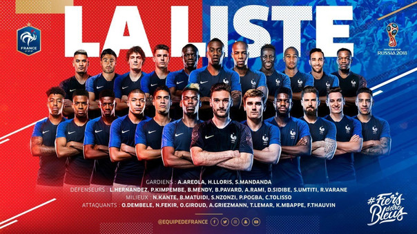 Esta es la convocatoria de Francia.