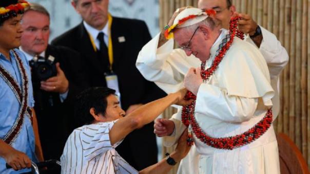 El líder awajún Santiago Manuin, quien fue baleado durante el 'Baguazo', habló con el papa Francisco cuando este último visitó Madre de Dios.