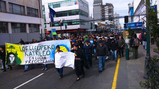 Protesta de mapuches en Chile.
