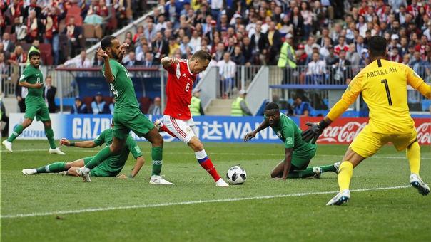 Denis Cheryshev poco antes de marcar su primer ante Arabia Saudita.