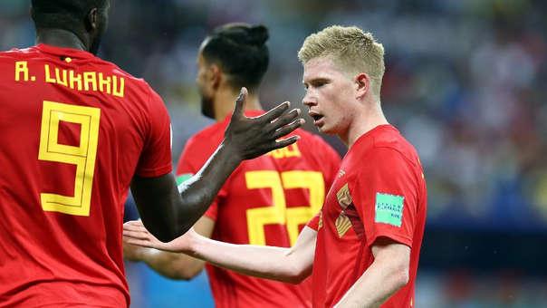 De Bruyne celebra luego de anotar el segundo gol de Bélgica a Brasil.