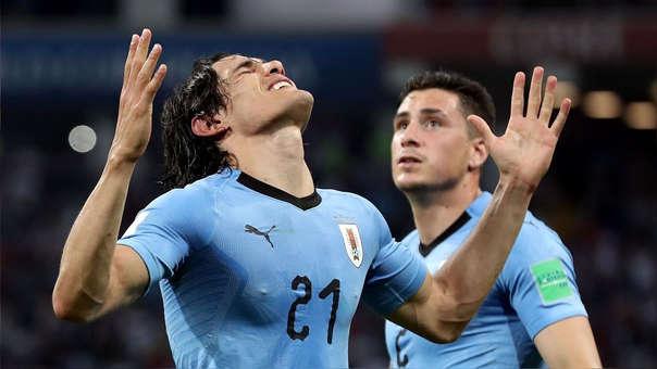 Edinson Cavani tras anotar para Uruguay ante Portugal en Rusia 2018