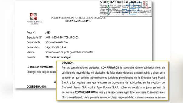 Decisión de la segunda Sala Civil sobre caso Agropucalá