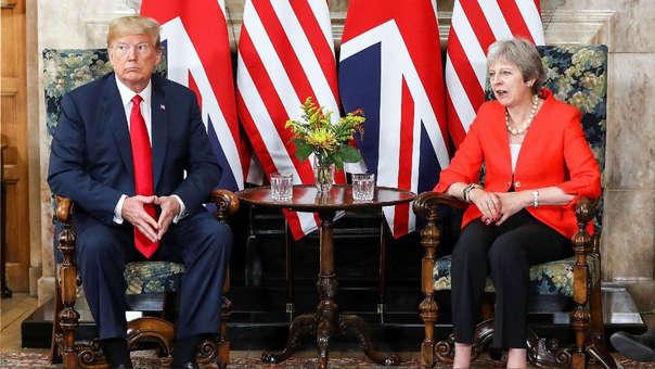 Donald Trump durante su encuentro de hoy con Theresa May en Chequers, Aylesbury (Reino Unido).