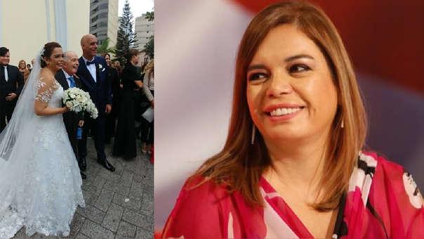 Al ver a 'Chema' Salcedo en una de las bancas de la iglesia, Milagros Leiva se acercó a saludarlo.