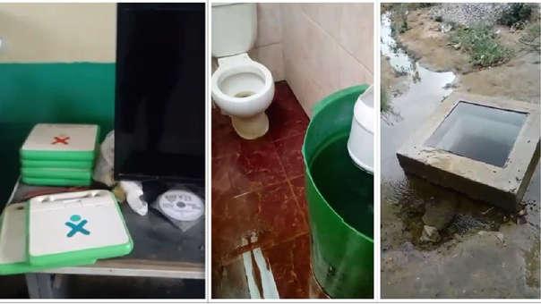 Colegio no tiene luz, los baños están sin agua y en el exterior el agua se desperdicia