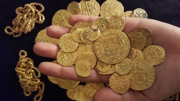Monedas de un tesoro español de la misma época hallado cerca a Florida.