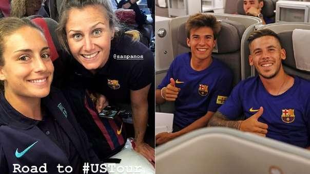 A la izquierda, dos jugadoras del equipo femenino del FC Barcelona en clase económica. A la derecha, dos jugadores del equipo masculina en clase preferencial.