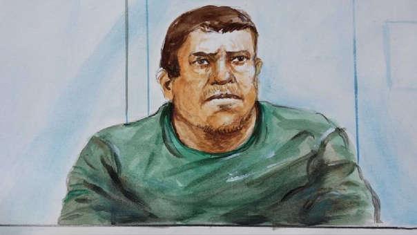 James Holdom en uno de los dibujos hechos en una corte australiana.
