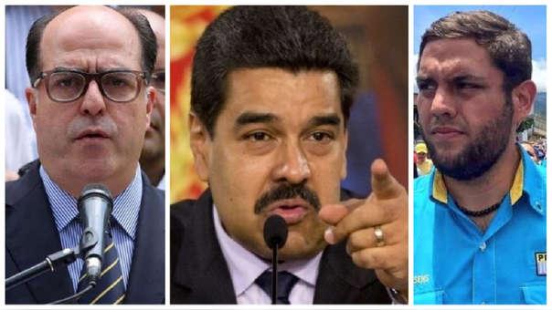Julio Borges, Nicolás Maduro y Juan Requesens.