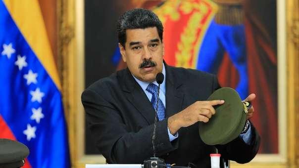 Nicolás Maduro durante un mensaje en cadena pública.