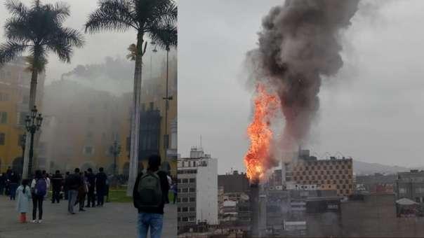 Incendio afecta a un local del Centro de Lima.