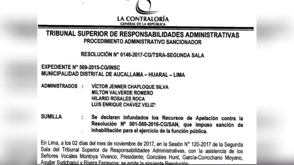 Resolución de la Contraloría que ratifica la inhabilitación