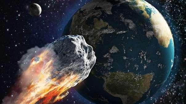 Representación de un asteroide cerca a la Tierra.