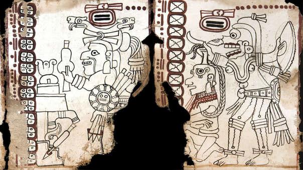 Fragmento del Códice Maya estudiado en la Biblioteca Nacional de Antropología en Ciudad de México