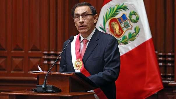 Martín Vizcarra durante un mensaje en el Congreso.