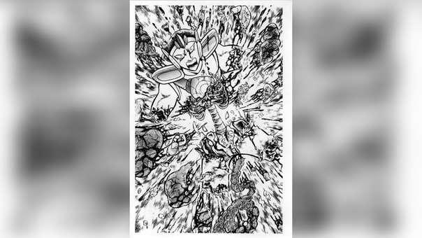 Nachi del lobo sufriendo el ataque ilusión del Ave Fénix, el cual recién llegaba al torneo galáctico.