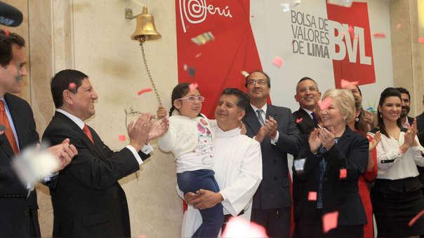 Como cada año, la Teletón inicia con el campanazo en la Bolsa de Valores de Lima.
