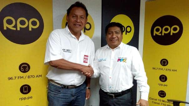 Pedro Cisneros y Bernardino Lalopú tras el debate regional en RPP
