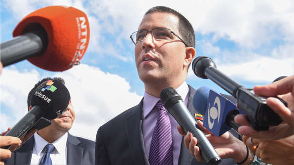 US-VENEZUELAN-FOREIGN-MINISTER-JORGE-ARREAZA-ADDRESSES-MEDIA-AT-
