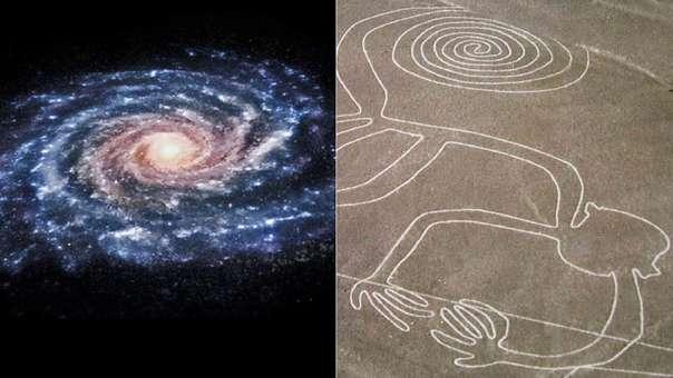 Ilustración de nuestra galaxia, la Vía Láctea. A su lado, una de las líneas de Nazca.
