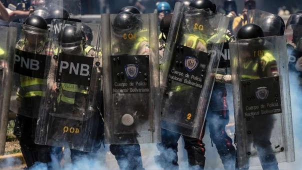 Miembros de la Policía venezolana durante una protesta.