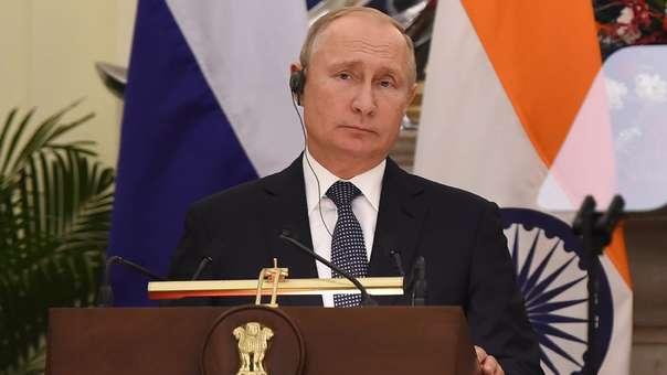 El presidente ruso durante una reunión con su homólogo indio.