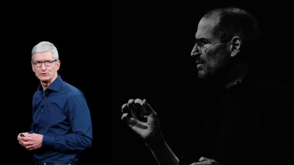 Tim Cook y Steve Jobs, las caras visibles de Apple esta última década