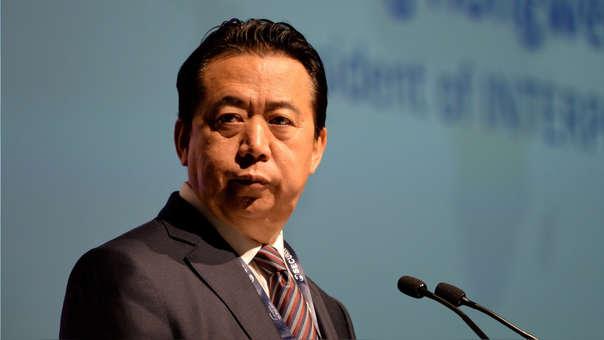 Meng Hongwei en el Congreso Internacional de Interpol del año pasado en Singapur.