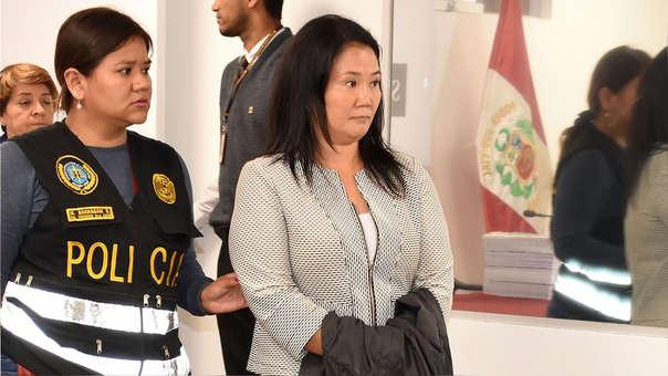 Keiko Fujimori en el Primer Juzgado de Investigación Preparatoria de la Sala Penal Nacional, instancia que dictó su detención preliminar.
