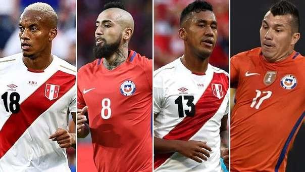 Los jugadores más cotizados de Perú y Chile.