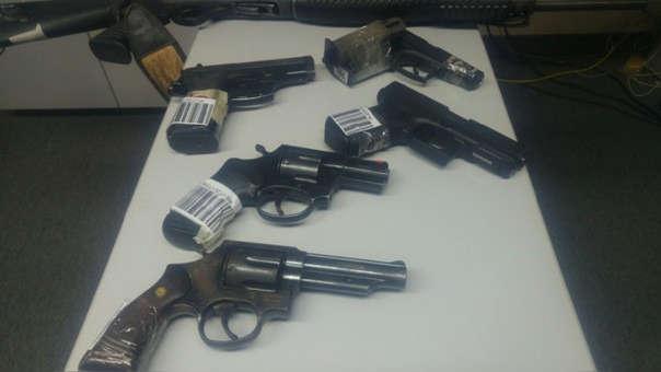 Armas de fuego decomisadas.