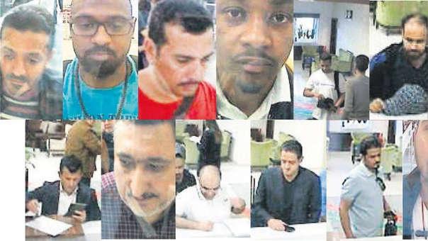Composición que muestra a los saudíes que llegaron a Turquía poco antes de la desaparición del periodista y que la policía identifica como los involucrados en el caso.
