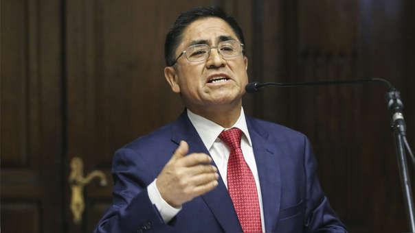 César Hinostroza durante su última aparición pública en el Perú: el día de su destitución y habilitación en el Congreso.