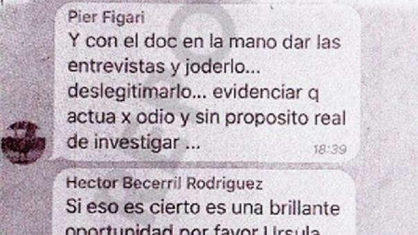 Pier Figari pide a los congresistas de Fuerza Popular buscar el récord migratorio del fiscal José Domingo Pérez para deslegitimarlo en medios.