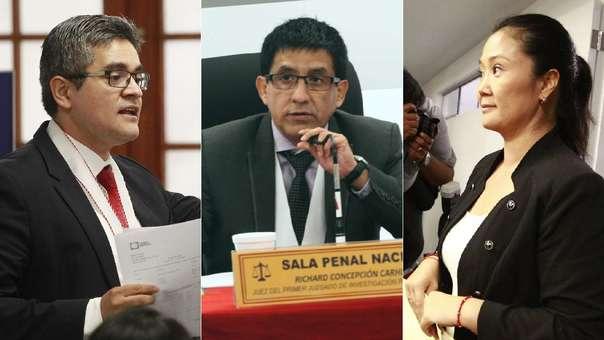 El fiscal José Domingo Pérez, el juez Richard Concepción Carhuancho y Keiko Fujimori.