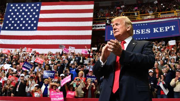 Donald Trump durante un mitin en Indiana en apoyo al candidato republicano.
