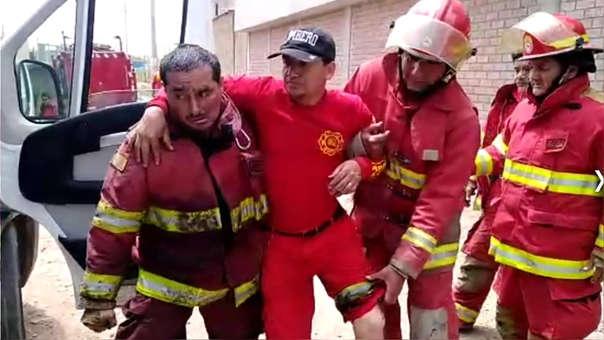 Bombero César Ramos resultó con quemaduras