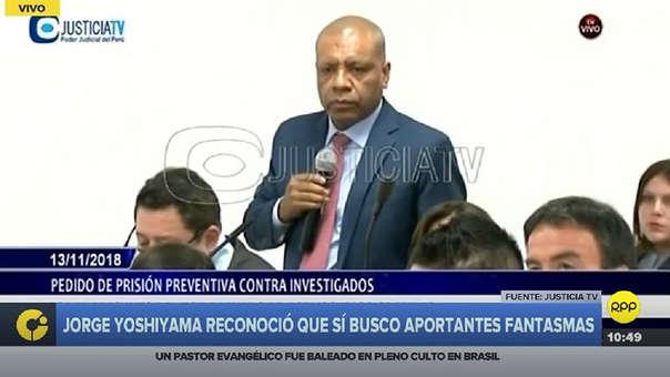 Luis Alberto Mejía estuvo conversando durante la audiencia con Jorge Yoshiyama.