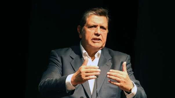 Alan García dio una conferencia en Sao Paulo, Brasil, el 25 de mayo de 2012.