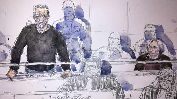 Sketch de la audiencia de este martes en la que Michel Fourniret (izquierda) y su cómplice y exesposa, Monique Olivier (derecha), responden ante las autoridades judiciales.