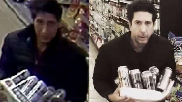 Tras ser comprado con el sospechoso (izquierda), el actor David Shwimmer publicó una foto a modo de broma (derecha).
