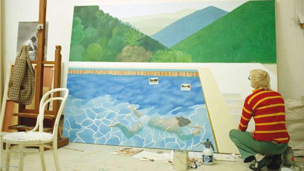 Hockney trabajó por 18 horas al día durante dos semanas para terminar su pintura.