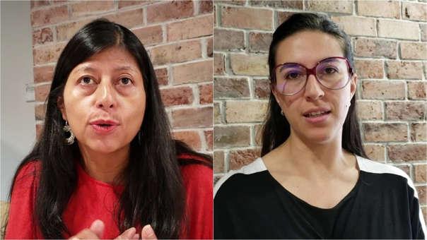 Olga Paz Martinez, directora administrativa de proyectos de Colnodo (izquierda) y Irene Velandia Rodriguez, gerente de política pública de Google para la Región Andina (derecha).