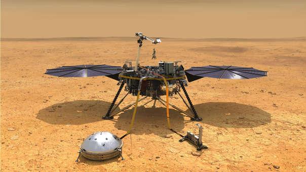 Ilustración de la NASA que muestra una vista simulada del módulo espacial InSight.