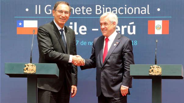 Martín Vizcarra y Sebastián PIñera inauguran II Gabinete Binacional Chile - Perú, que se realiza en Santiago de Chile.
