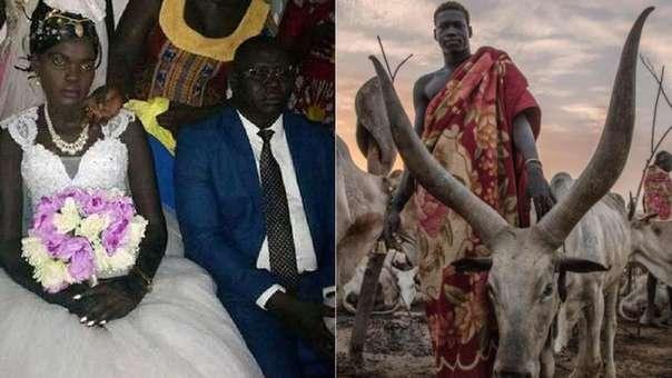 La joven de 17 años (izquierda) se convirtió en la novena esposa de un acaudalado hombre. A su lado, un hombre de la tribu dinka posa con su ganado.
